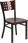 Black Decorative Cutout Back Metal Restaurant Chair with Mahogany Wood Back & Seat [BFDH-90778-MAH-TDR]
