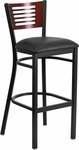 Black Decorative Slat Back Metal Restaurant Barstool with Mahogany Wood Back & Black Vinyl Seat [BFDH-90156-MAH-BAR-BK-TDR]