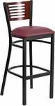 Black Decorative Slat Back Metal Restaurant Barstool with Mahogany Wood Back & Burgundy Vinyl Seat [BFDH-90156-MAH-BAR-BY-TDR]