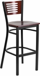Black Decorative Slat Back Metal Restaurant Barstool with Mahogany Wood Back & Seat [BFDH-90156-MAH-BAR-TDR]