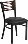 Black Decorative Slat Back Metal Restaurant Chair with Walnut Wood Back & Black Vinyl Seat [BFDH-90156-WAL-BK-TDR]