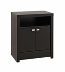 Series 9 Designer 2 Door 28''H Nightstand with Open Storage - Black [BDNH-0502-1-FS-PP]