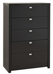 Series 9 Designer 5 Drawer 45.75''H Chest with Rectangular Chrome Finished Pulls - Black [BDBR-0550-1-FS-PP]