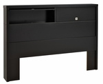 Series 9 Designer Full/Queen Size Headboard with 2 Flip-Up Doors - Black [BHFX-0502-1-FS-PP]