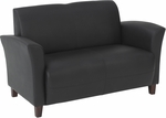 OSP Furniture Eco Leather Breeze Love Seat with Cherry Finish Legs - Black [SL2272EC3-FS-OS]