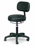 Black Economy Air-Lift Stool with Backrest - 20'' - 27''H [HAU-2156-707-FS-HAUS]