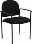 Black Fabric Comfortable Stackable Steel Side Chair with Arms [BT-516-1-BK-GG]