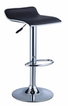 Black Faux Leather / Chrome Thin Seat Adjustable Height Bar Stool - Set of 2 [212-847X-FS-PO]