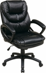 Work Smart Faux Leather Managers Chair with Padded Loop Arms - Black [FL660-U6-FS-OS]