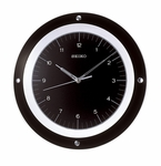 Black Glass Circle Wall Clock [QXA314KLH-FS-SEI]