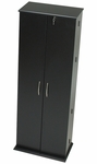 Grande Locking Media Storage Cabinet with Chrome Colored Door Handles - Black [BVS-0287-K-FS-PP]