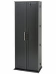 Grande Locking Media Storage Cabinet with Shaker Doors and 32 Adjustable Shelves - Black [BLS-0448-K-FS-PP]