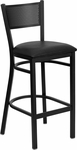 Black Grid Back Metal Restaurant Barstool with Black Vinyl Seat [BFDH-77215BKBARDRG-TDR]