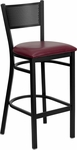 Black Grid Back Metal Restaurant Barstool with Burgundy Vinyl Seat [BFDH-77215BYBARDRG-TDR]