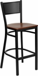 Black Grid Back Metal Restaurant Barstool with Cherry Wood Seat [BFDH-77215CWBARDRG-TDR]