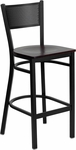 Black Grid Back Metal Restaurant Barstool with Mahogany Wood Seat [BFDH-77215MWBARDRG-TDR]