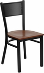 Black Grid Back Metal Restaurant Chair with Cherry Wood Seat [BFDH-77215DRGCW-TDR]