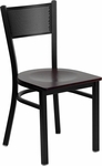 Black Grid Back Metal Restaurant Chair with Mahogany Wood Seat [BFDH-77215DRGMW-TDR]