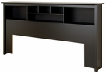 King Size Bookcase Headboard with 6 Different Sized Storage Compartments - Black [BSH-8445-FS-PP]