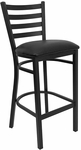 Black Ladder Back Metal Restaurant Barstool with Black Vinyl Seat [BFDH-6147BKLADBAR-TDR]