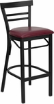 Black Ladder Back Metal Restaurant Barstool with Burgundy Vinyl Seat [BFDH-6145BYBARLAD-TDR]