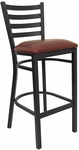 Black Ladder Back Metal Restaurant Barstool with Burgundy Vinyl Seat [BFDH-6147BYLADBAR-TDR]