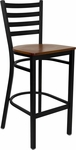 Black Ladder Back Metal Restaurant Barstool with Cherry Wood Seat [BFDH-6147CWLADBAR-TDR]