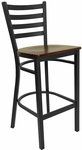 Black Ladder Back Metal Restaurant Barstool with Mahogany Wood Seat [BFDH-6147MWLADBAR-TDR]