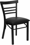 Black Ladder Back Metal Restaurant Chair with Black Vinyl Seat [BFDH-6145BLADBK-TDR]