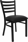 Black Ladder Back Metal Restaurant Chair with Black Vinyl Seat [BFDH-6147LADBK-TDR]