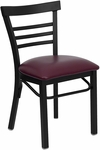Black Ladder Back Metal Restaurant Chair with Burgundy Vinyl Seat [BFDH-6145BLADBY-TDR]