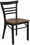 Black Ladder Back Metal Restaurant Chair with Cherry Wood Seat [BFDH-6145BLADCW-TDR]