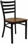 Black Ladder Back Metal Restaurant Chair with Cherry Wood Seat [BFDH-6147LADCW-TDR]