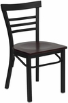 Black Ladder Back Metal Restaurant Chair with Mahogany Wood Seat [BFDH-6145BLADMW-TDR]