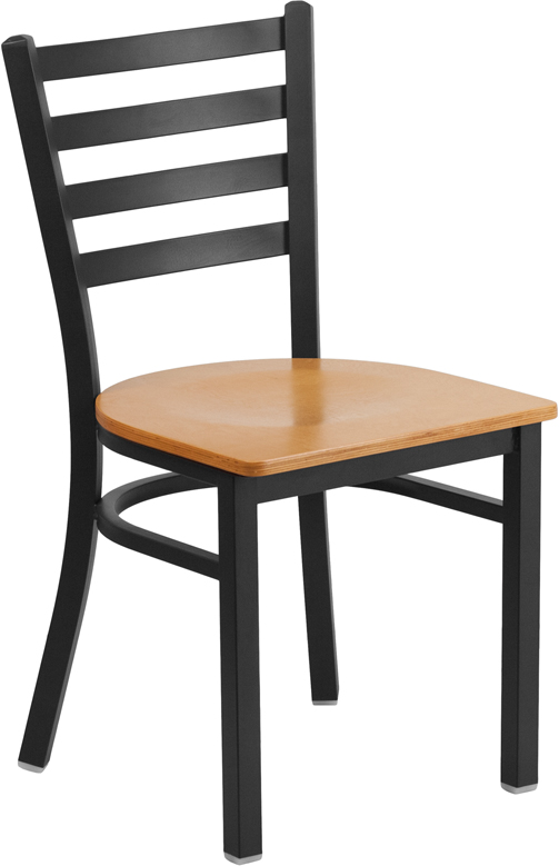 Miraculous Black Ladder Back Metal Restaurant Chair With Natural Wood Seat Unemploymentrelief Wooden Chair Designs For Living Room Unemploymentrelieforg
