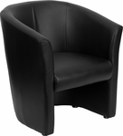 Black Leather Barrel-Shaped Guest Chair [GO-S-01-BK-QTR-GG]