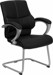 Black Leather Executive Side Chair [H-9637L-3-SIDE-GG]