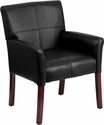 Black Leather Executive Side Chair or Reception Chair with Mahogany Legs