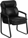 Black Leather Executive Side Reception Chair with Sled Base [GO-1156-BK-LEA-GG]
