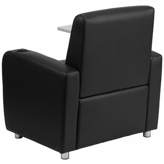 Black Leather Guest Chair With Tablet Arm Chrome Legs And Cup Holder BT 821