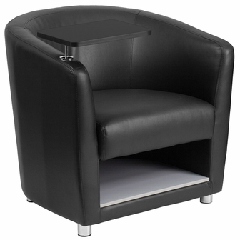 Black Leather Guest Chair With Tablet Arm Chrome Legs And Under Seat Storage