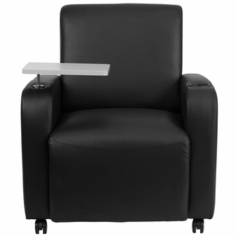 Black Leather Guest Chair With Tablet Arm Front Wheel Casters And Cup Holder