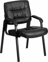 Black Leather Guest / Reception Chair with Black Frame Finish