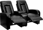 Eclipse Series 2-Seat Reclining Black Leather Theater Seating Unit with Cup Holders [BT-70259-2-BK-GG]