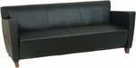 OSP Furniture Leather Sofa with Cherry Finish - Black [SL8473-FS-OS]