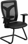 Galaxy Black Mesh Side Arm Chair with Leather Seat and Adjustable Lumbar Support [WL-F065V-LEA-A-GG]