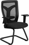 Galaxy Black Mesh Side Arm Chair with Mesh Seat and Adjustable Lumbar Support [WL-F065V-MF-A-GG]