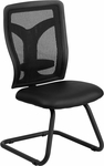 Galaxy Black Mesh Side Chair with Leather Seat and Adjustable Lumbar Support [WL-F065V-LEA-GG]