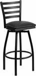 Black Metal Ladder Back Bar Stool with Black Vinyl Swivel Seat [BFDH-706688LAD-BK-BAR-TDR]