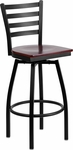 Black Metal Ladder Back Barstool with Mahogany Wood Swivel Seat [BFDH-706688LAD-MAH-BAR-TDR]